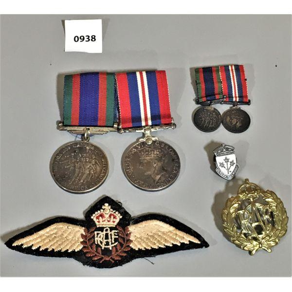 LOT OF 5 - 2 MEDAL BAR SETS & CREST & PINS - WWII