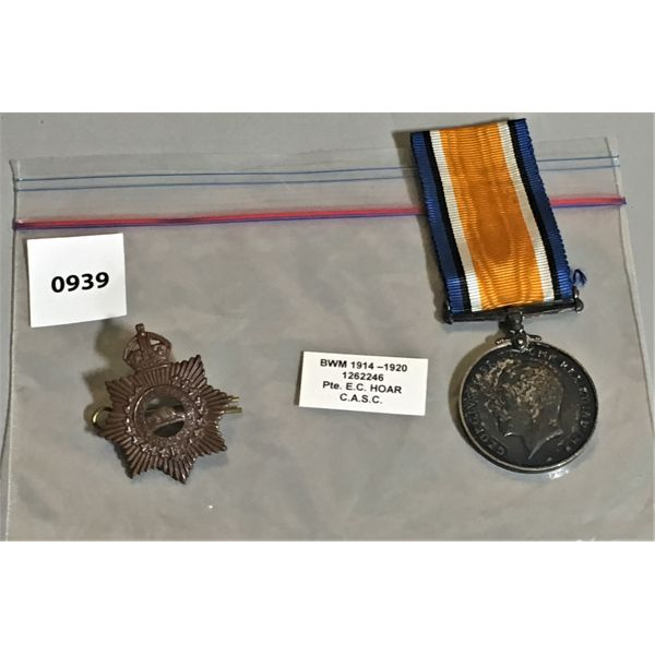 WWI SERVICE MEDAL - PTE EC HOAR - C.A.S.C