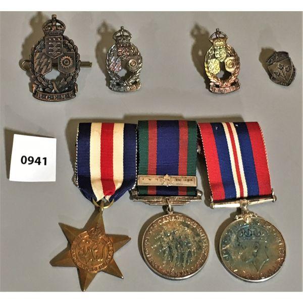 3 MEDAL BAR SET - WWII & PINS
