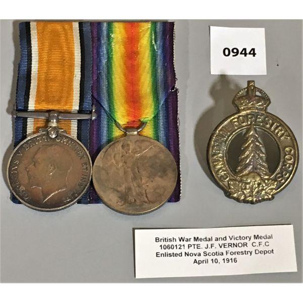 2 MEDAL BAR SET - BRITISH VICTORY - NS FORESTRY - 1916