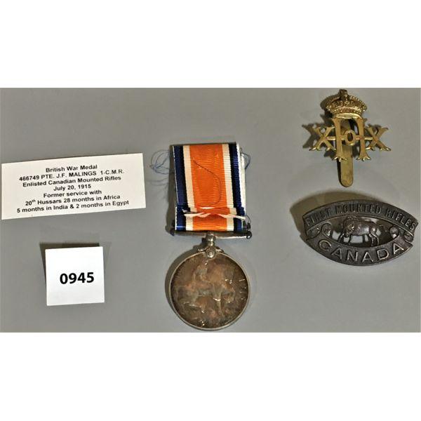 LOT OF 3 - BRITISH WAR MEDALS WWI