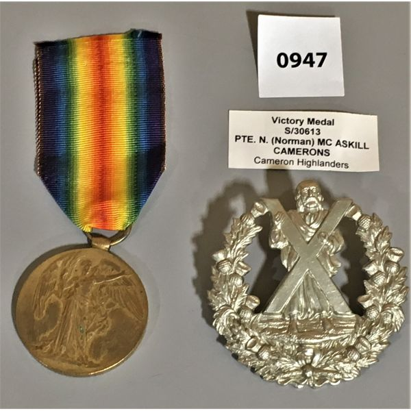 LOT OF 2 - VICTORY MEDALS - PTE N ASKILL