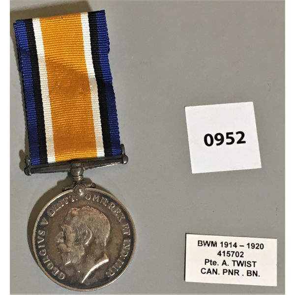 SERVICE MEDAL - 1920 - PTE A. TWIST
