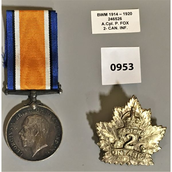 LOT OF 2 - SERVICE MEDAL - 1920 - CPL P. FOX