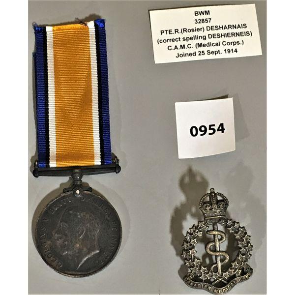 SERVICE MEDAL - 1914 - MEDICAL CORPS - PTE R. DESHIERNEIS