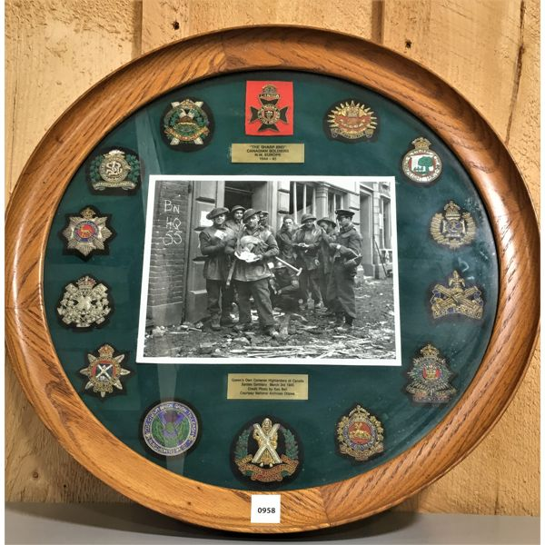 1945 - FRAMED COMMEMORATIVE - 21 INCHES - QUEENS OWN CAMERON HIGHLANDERS IMAGED IN GERMANY