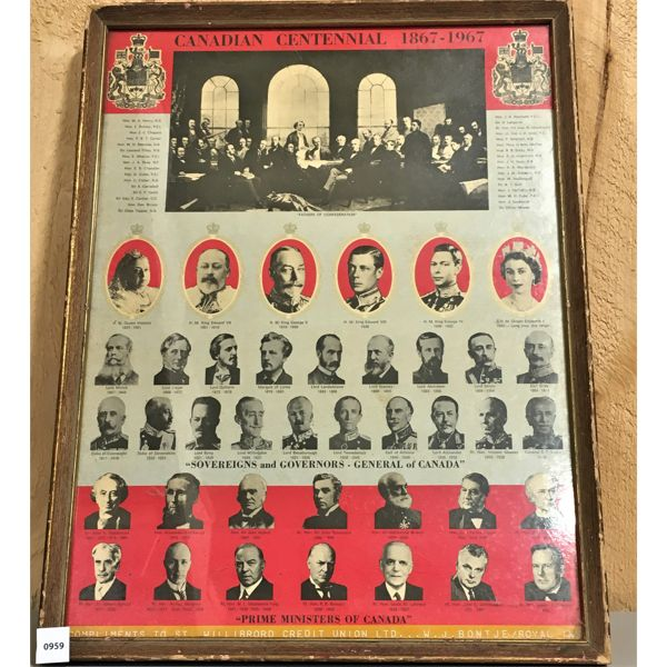 1967 - FRAMED PARLIMENT OF CANADA - 16 X 22 INCHES