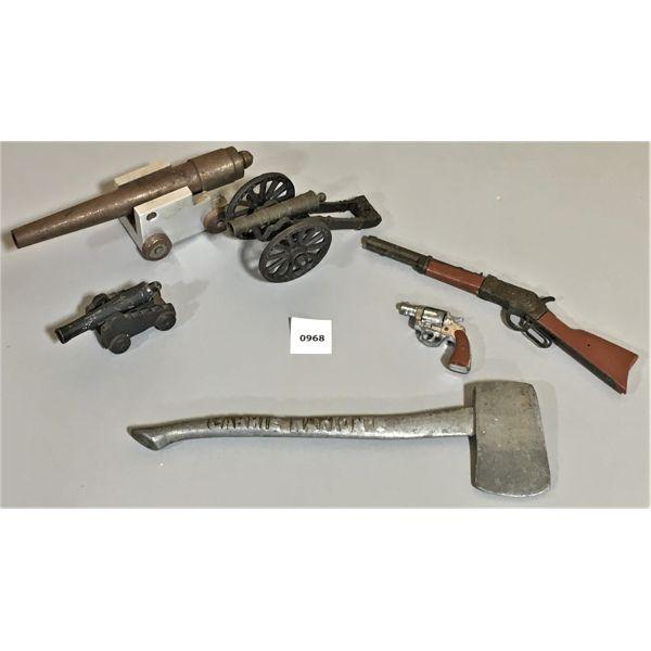 JOB LOT - CAP GUNS, CANNONS, AXE - MINI COLLECTIBLES