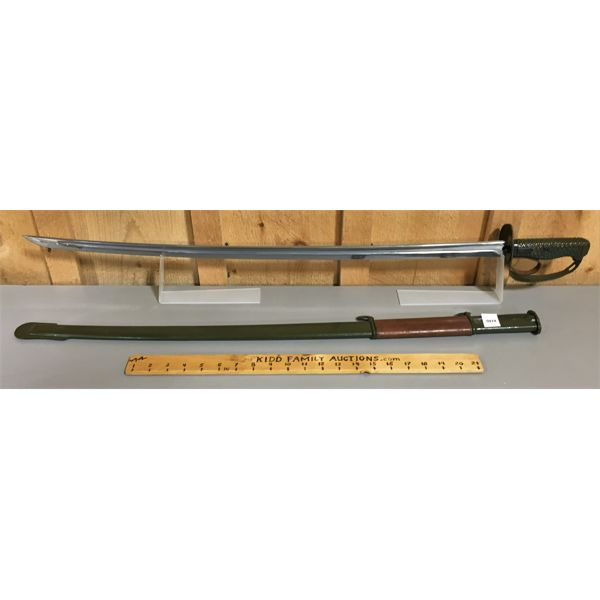 31 INCH BLADE - CHINESE TYPE 65 NCO SWORD W/ LEATHER & METAL SCABBARD - VG CONDITION