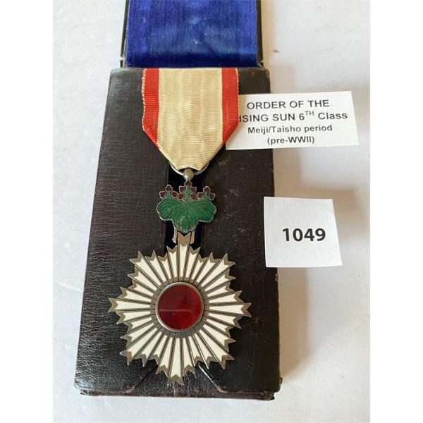 IMPERIAL JAPAN - ORDER OF THE RISING SUN - 6TH CLASS MEDAL IN LEATHER PRESENTATION CASE