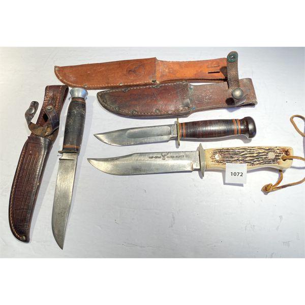 LOT OF 3 - HUNTING KNIVES - BONE HANDLES & LEATHER SHEATHS - USA