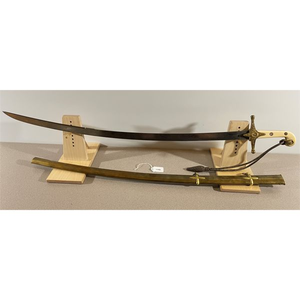BRITISH PATTERN 1831 GENERAL OFFICER SWORD (MAMELUKE HILT) WITH INF/ENG. KNOT; & W/ METAL SCABBARD