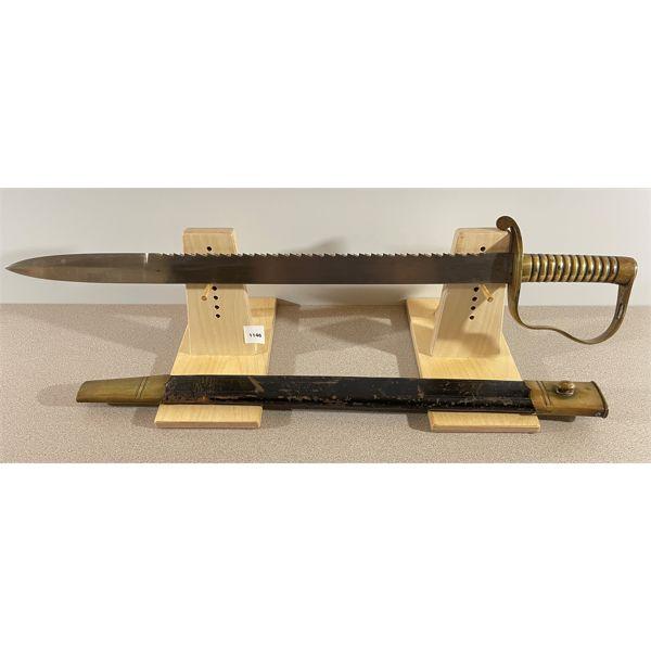 BRITISH PATTERN 1856 PIONEER SAW BACK SWORD W/ LEATHER & BRASS SCABBARD