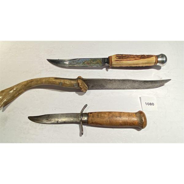 LOT OF 3 - 6 INCH FORGED KNIFE W/ ANTLER HANDLE & GERMAN CAMP SCENE & ANTIQUE MARKED SWEDEN