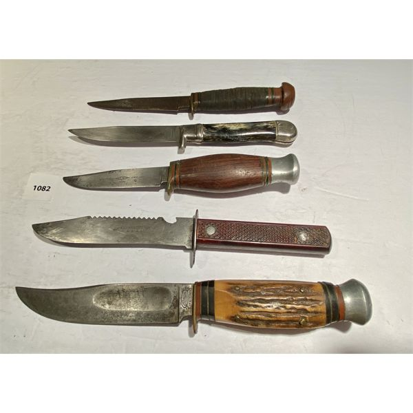LOT OF 5 - MISC KNIVES - MARKED WEST GERMANY, SHEFFIELD, ETC