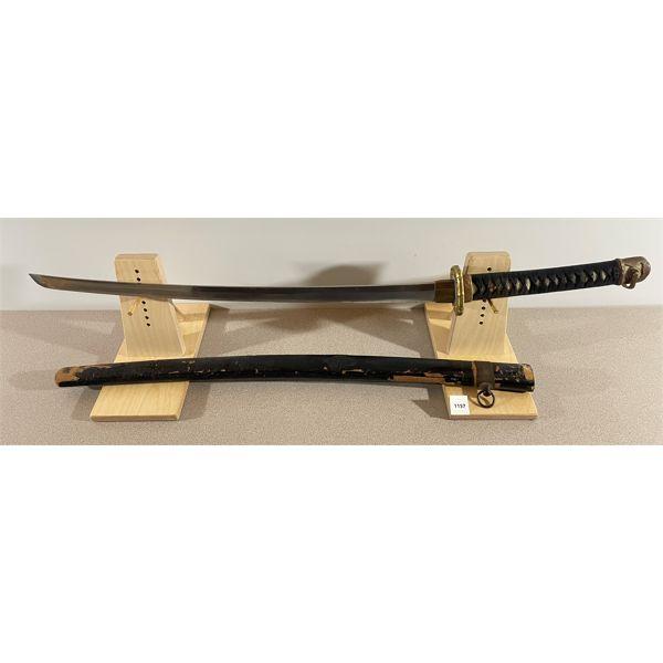 JAPAN - O-WAKIZASHI SWORD C. 1935 W/ SHIN-GUNTO MOUNTS & WOODEN SCABBARD
