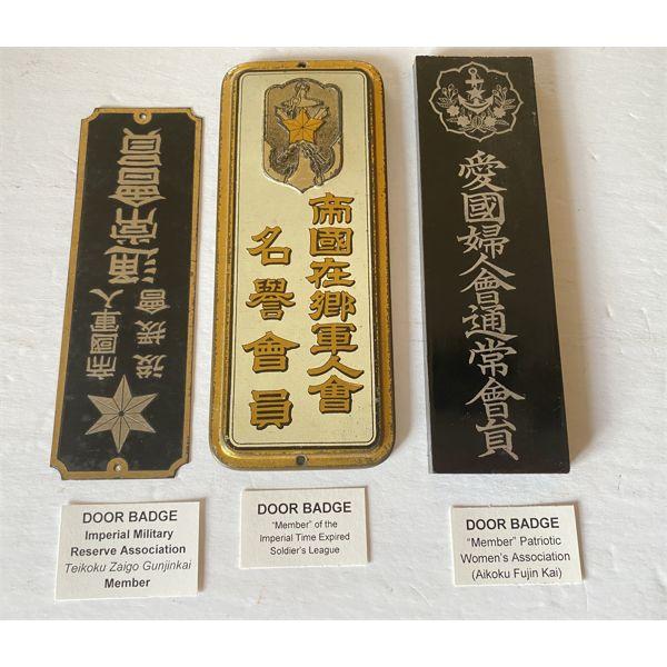 LOT OF 3 - IMPERIAL JAPAN - DOOR BADGES - WOOD & TIN