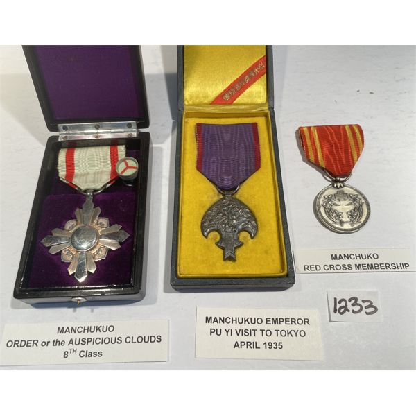 LOT OF 3 -MANCHUKO MEDALS W/ PRESENTATION CASES