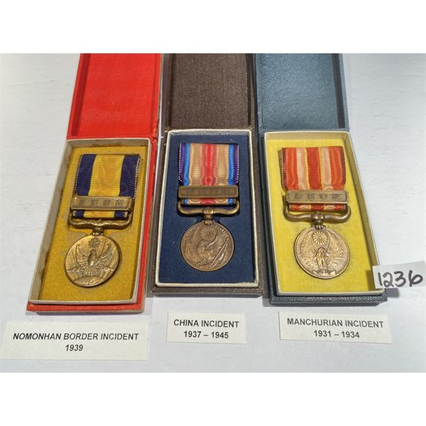 LOT OF 3 - 1930's INCIDENT MEDALS - JAPAN