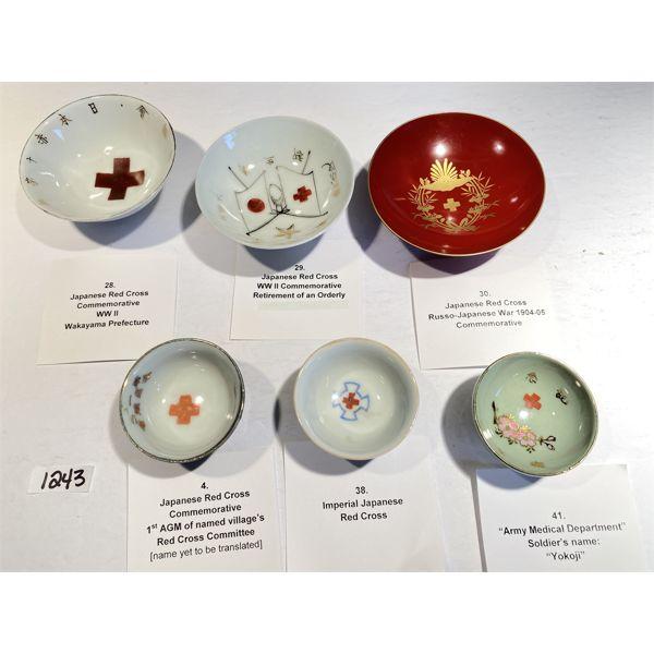 LOT OF 6 - COMMEMORATIVE SAKE CUPS - JAPANESE RED CROSS