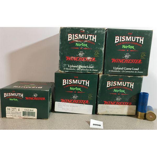 """AMMO: 125X WINCHESTER 16 GA 2 3/4"""" #4 BISMUTH"""