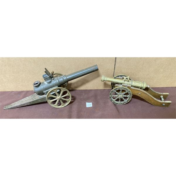 LOT OF 2 - BRASS CANNON & 'BIG BANG' TIN CANNON - 8 & 10 INCH BARRELS.