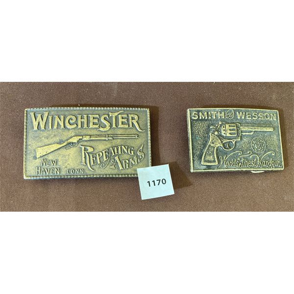 LOT OF 2 - WINCHESTER & SMITH & WESSON BRASS BELT BUCKLES