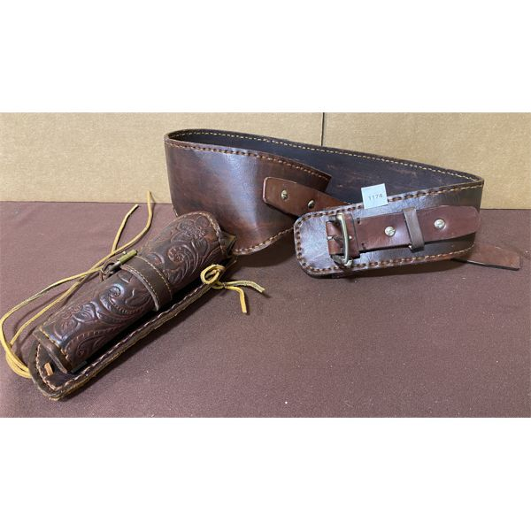 TOOLED LEATHER BELT & HOLSTER - APPROX 40 INCHES