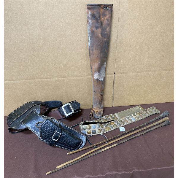 LOT OF 3 - TOOLED LEATHER BELT W/ HOLSTER, QUIVER & CANVAS MILITARY, ETC.