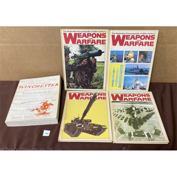 LOT OF 5 - REFERENCE BOOKS - WEAPONS & WARFARE & WINCHESTER