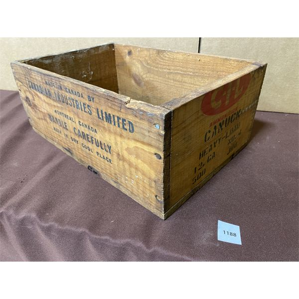 WOODEN CIL AMMO CRATE - 12 GA - 9 X 13 INCHES