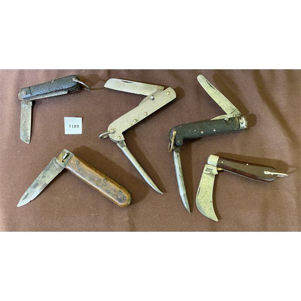 LOT OF 5 - POCKET KNIVES - 2 X CND BROAD ARROW MARKINGS
