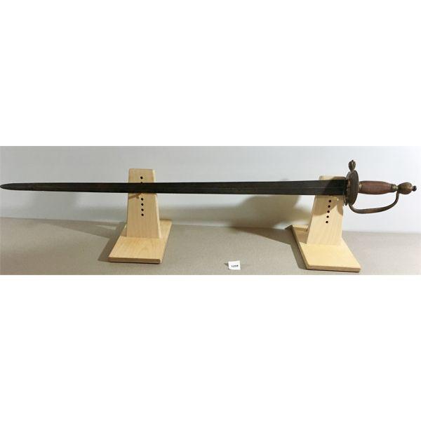 "32"" DUAL SIDED BLADE SWORD WOOD GRIP WITH HANDGUARD"