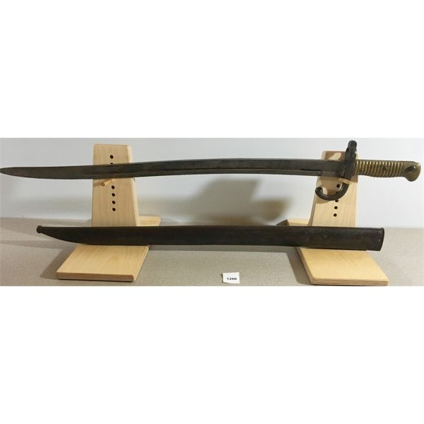 """FRENCH- 23"""" SINGLE SIDED CURVED BLADE SWORD STYLE BAYONET- 1871"""