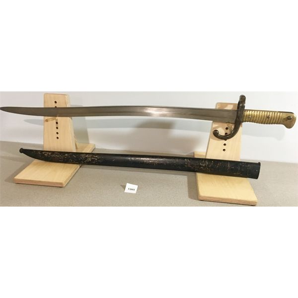 """22.5"""" SINGLE SIDED CUREVED BLADE SWORD STYLE BAYONET WITH SCABBARD- BRASS GRIP"""