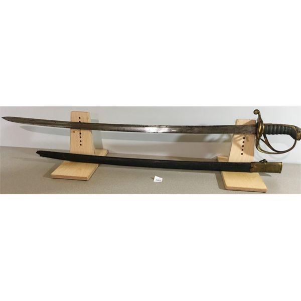 "32"" SINGLE SIDED BLADE SWORD WITH HINGED HANDGUARD & SCABBARD"