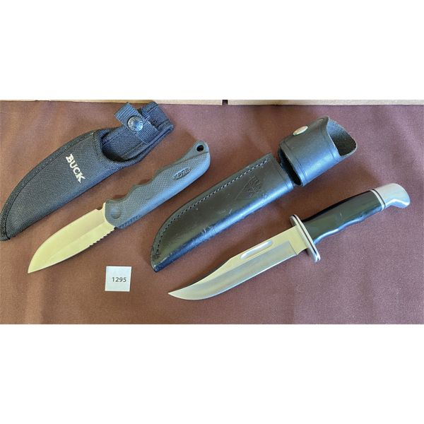 LOT OF 2 - WINCHESTER HUNTING KNIVES W/ SHEATHS -5 INCH BLADES