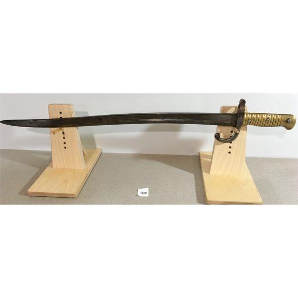 "22.5"" SINGLE SIDED CURVED BLADE SWORD STYLE BAYONET- BRASS GRIP"