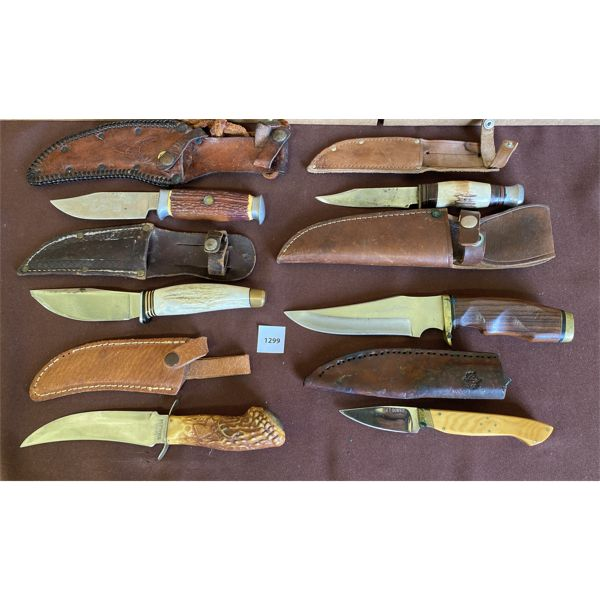 LOT OF 6 - MISC HUNTING KNIVES W/ SHEATHS