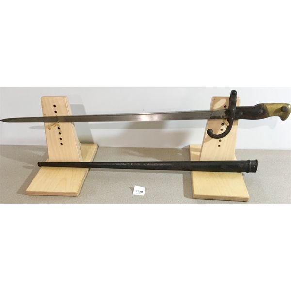 """20.5"""" SINGLE SIDED BLADE SWORD STYLE BAYONET WITH SCABBARD"""