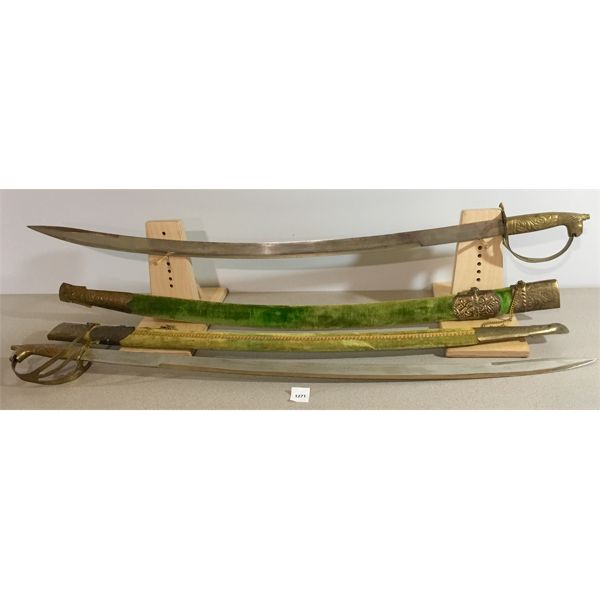 """2X 29.5"""" PARTIALY DUAL SIDED CURVED BLADE SWORDS WITH SCABBARDS- MADE IN INDIA"""