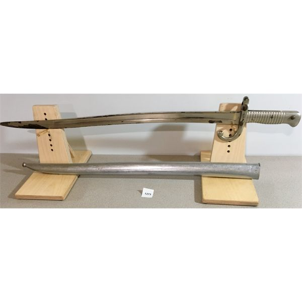 """22.5"""" SINGLE SIDED CURVED BLADE SWORD STYLE BAYONET WITH SCABBARD- 1873"""