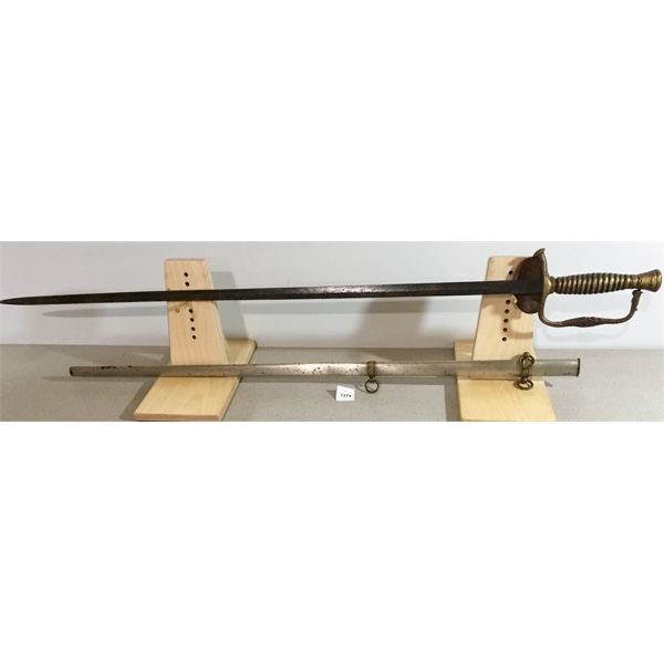 """29.5"""" DUAL SIDED BLADE SWORD WITH BRASS GRIP & HANDGUARD & SCABBARD"""