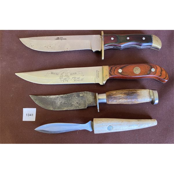 LOT OF 4 - 7 INCH WILD BILL HICKOK BOWIE KNIFE & VARIOUS HUNTING KNIVES