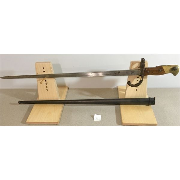 """20.5"""" SINDLE SIDED BLADE BAYONET WITH BRASS & WOOD GRIP & SCABBARD- 1879"""