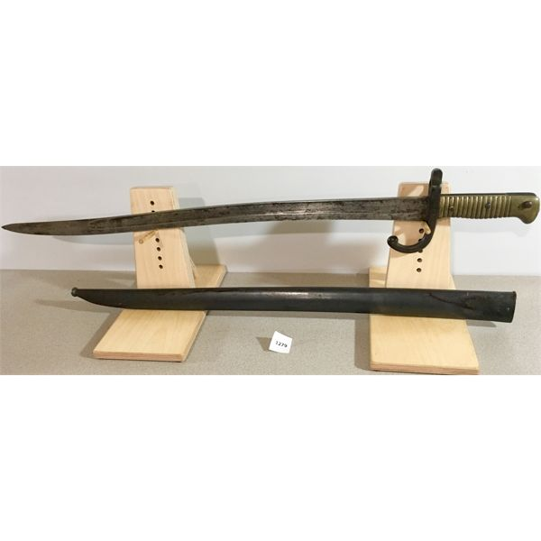 """22.5"""" SINGLE SIDED BLADE SWORD STYLE BAYONET WITH SCABBARD- 1867"""