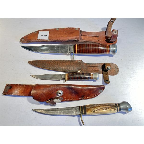LOT OF 3 - HUNTING KNIVES - SOLINGEN GERMANY - 3 & 5 INCH BLADES