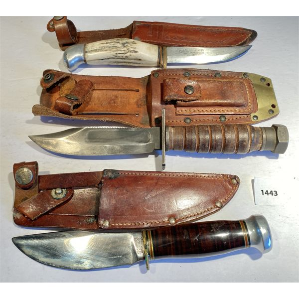 LOT OF 3 - HUNTING KNIVES - MARBLE'S USA, FROST'S SWEDEN - 4 & 5 INCH BLADES