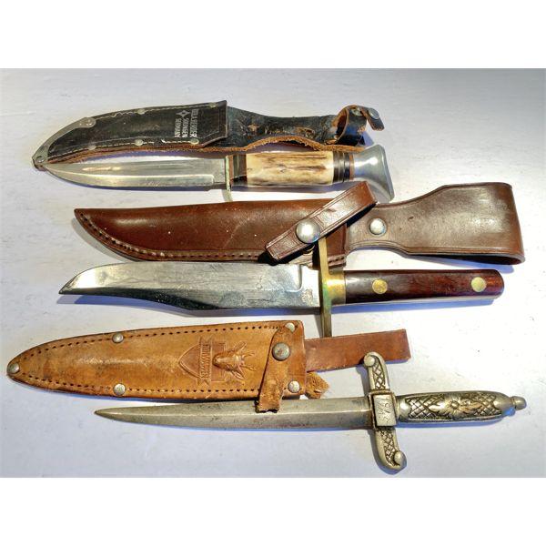 LOT OF 3 - SOLINGEN & SHEFIELD KNIVES & 1945 DAGGER
