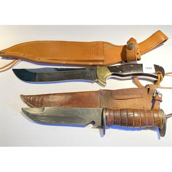 LOT OF 2 - WESTERN & EGW HUNTING KNIVES - 6 & 8 INCH BLADES